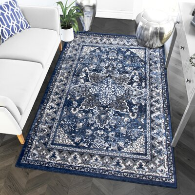 Rosie Blue/Gray Area Rug Rug Size: 710 x 910