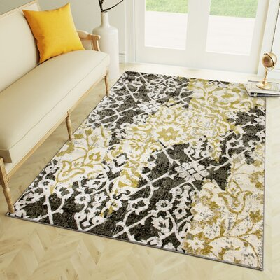 Rosie Ikat Yellow/Gray Area Rug Rug Size: 710 x 910