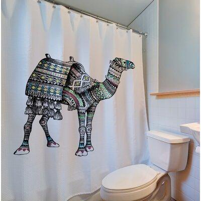 Ostler Metallic Camel Print 100% Cotton Shower Curtain
