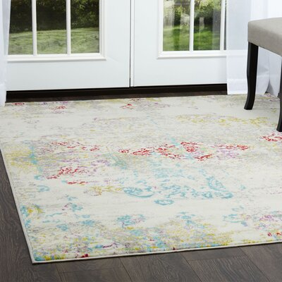 Brees Medallion Ivory Area Rug Rug Size: Round 52
