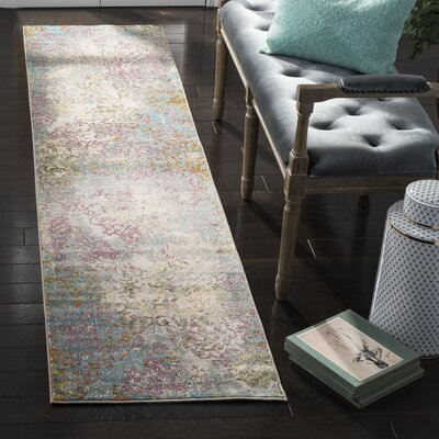 Andy Fuchsia/Ivory Area Rug Rug Size: Runner 2 x 8