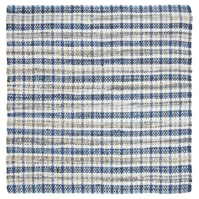 Bester Hand-Woven Cotton Blue/White Area Rug Rug Size: Square 6