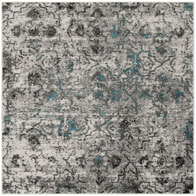 Alisa Gray/Black Area Rug Rug Size: Square 6