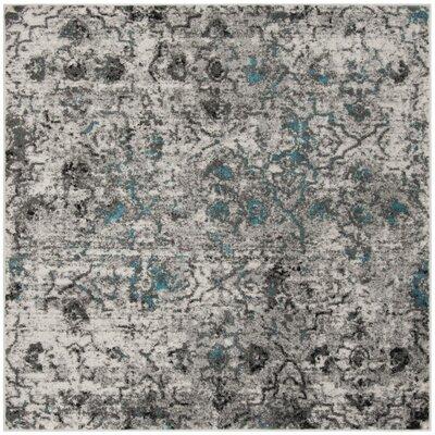 Alisa Gray/Black Area Rug Rug Size: Square 6