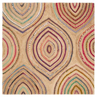 Abhay Boho Hand Woven Beige/Pink Area Rug Rug Size: Square 6