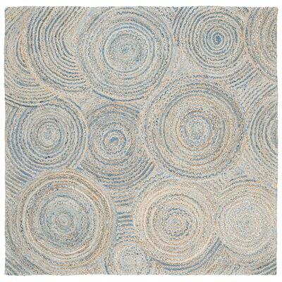 Abhay Boho Hand Woven Jute/Sisal Gray/Blue Area Rug Rug Size: Square 6