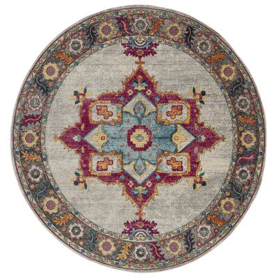 Doucet Cream/Pink Area Rug Rug Size: Round 67