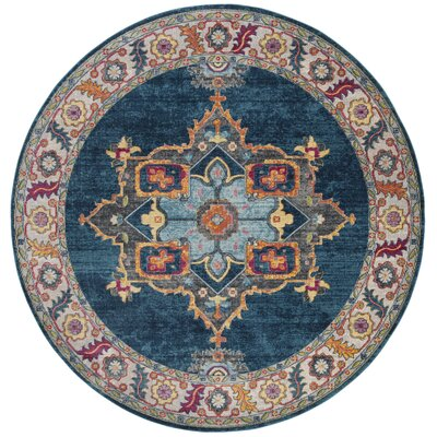 Doucet Blue/Orange Area Rug Rug Size: Round 67