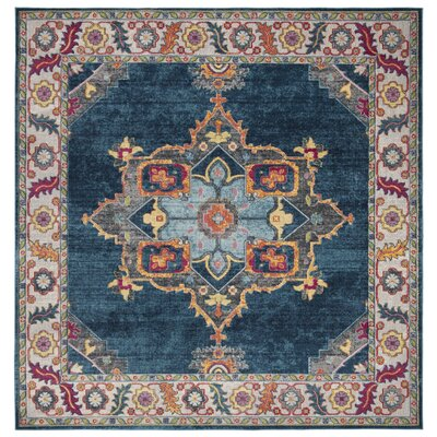 Doucet Blue/Orange Area Rug Rug Size: Square 67