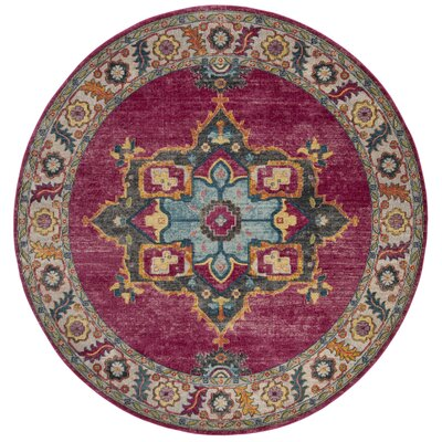 Doucet Pink/Blue Area Rug Rug Size: Round 67