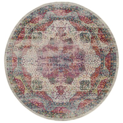 Doucet Cream/Red Area Rug Rug Size: Round 67
