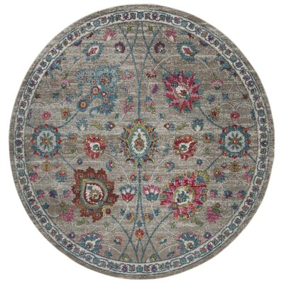 Doucet Gray/Pink Area Rug Rug Size: Round 67
