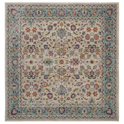 Doucet Cream/Blue Area Rug Rug Size: Square 67
