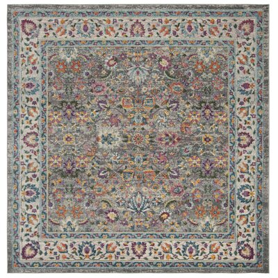 Doucet Gray/Pink Area Rug Rug Size: Square 67