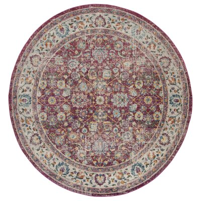 Doucet Red/Gray Area Rug Rug Size: Round 67