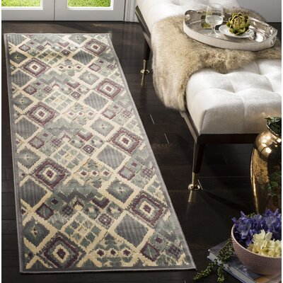 Saint-Michel Gray/Beige Area Rug Rug Size: Runner 22 x 8