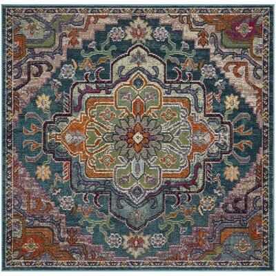 Gonzalez Teal/Rose Area Rug Rug Size: Square 7