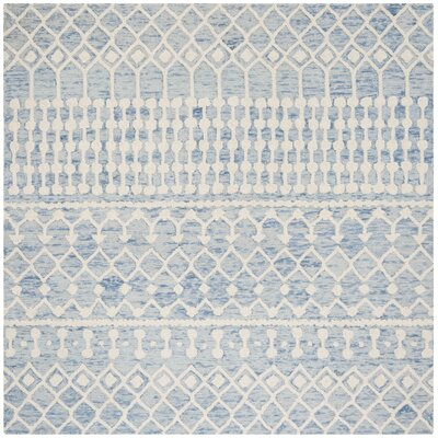 Betancourt Hand-Woven Wool Blue/Ivory Area Rug Rug Size: Square 6