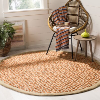Collinsville Fiber Hand Woven Orange Area Rug� Rug Size: Round 6