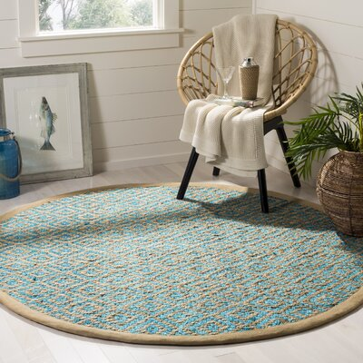Miami Springs Natural Fiber Hand Tufted Turquoise Area Rug� Rug Size: Round 6