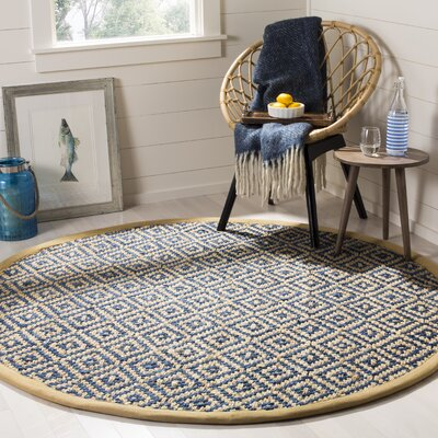 Okaloosa Natural Fiber Hand Tufted Tropical Blue Area Rug� Rug Size: Round 6