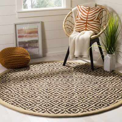 Sherbrooke Natural Fiber Hand Woven Brown Area Rug� Rug Size: Round 6