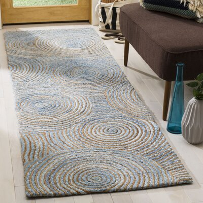 Abhay Boho Hand Woven Jute/Sisal Gray/Blue Area Rug Rug Size: Runner 23 x 8