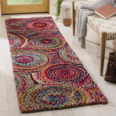Abhay Hand Knotted Jute/Sisal Pink/Beige/Blue Area Rug Rug Size: Runner 23 x 8