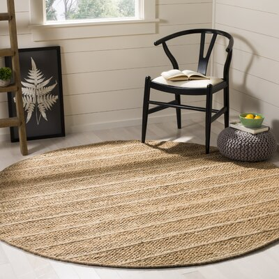 Lawtey Fiber Hand Woven Beige Area Rug� Rug Size: Round 6