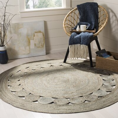 Salinas Natural Fiber Hand Woven Gray Area Rug� Rug Size: Round 6