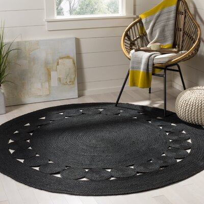 Johna Hand-Woven Black Area Rug Rug Size: Round 6