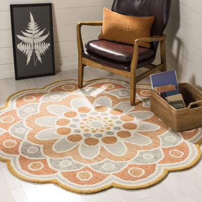 Coral Springs Hand Hooked Wool Orange Area Rug� Rug Size: Round 6