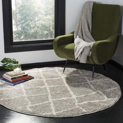 Zettie Light Gray/Cream Area Rug Rug Size: Round 51 x 51