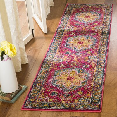 Dostie Red/Yellow Area Rug Rug Size: Runner 23 x 8