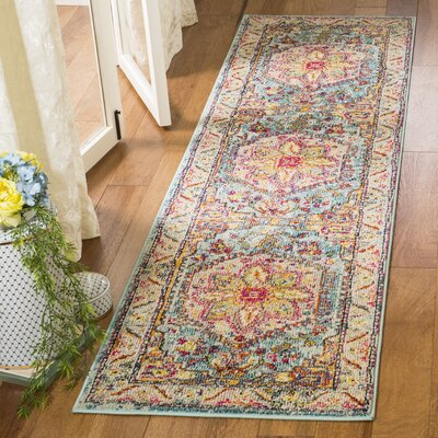 Dostie Gray/Yellow Area Rug Rug Size: Runner 23 x 8