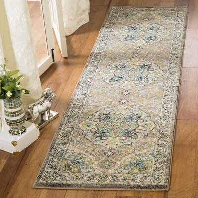 Dostie Ivory/Gray Area Rug Rug Size: Runner 23 x 8