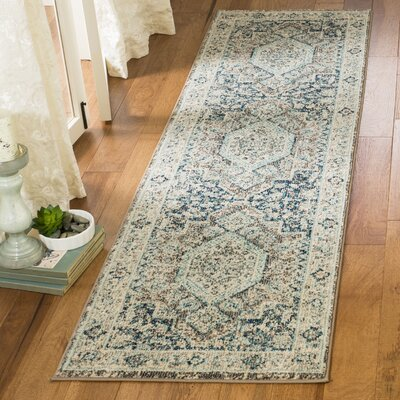 Dostie Gray/Blue Area Rug Rug Size: Runner 23 x 8