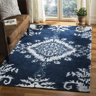 Moulouya Hand-Knotted Indigo Area Rug Rug Size: Rectangle 5 x 8