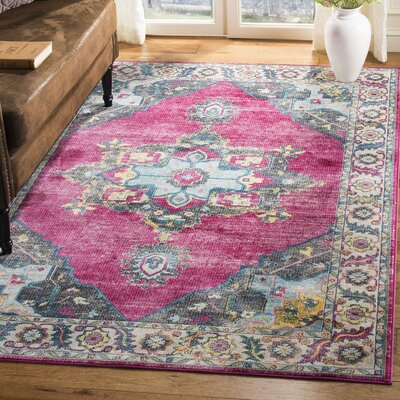 Doucet Pink/Blue Area Rug Rug Size: Rectangle 51 x 76