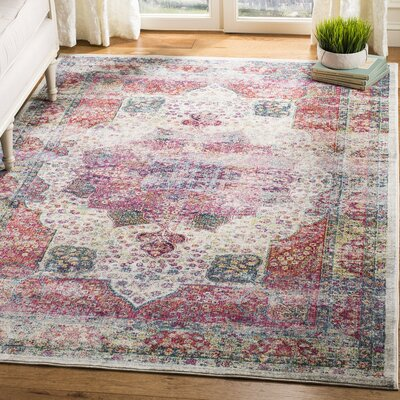 Doucet Cream/Red Area Rug Rug Size: Rectangle 51 x 76