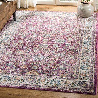 Doucet Red/Gray Area Rug Rug Size: Rectangle 51 x 76