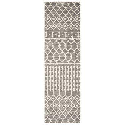 Betancourt Hand-Woven Wool Dark Gray/Ivory Area Rug Rug Size: Runner 23 x 8