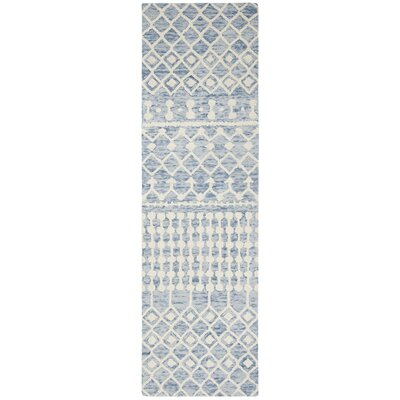 Betancourt Hand-Woven Wool Blue/Ivory Area Rug Rug Size: Runner 23 x 8