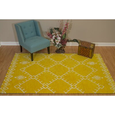 Pisano Lemon Yellow/White Area Rug Rug Size: Rectangle 111 x 3