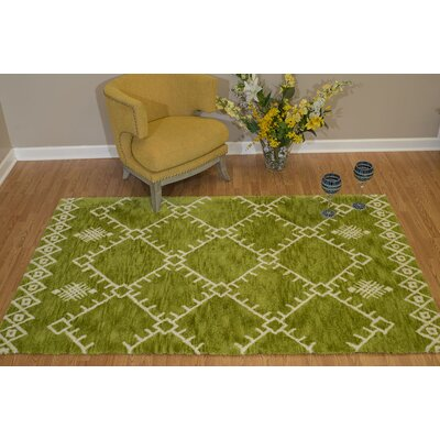 Pisano Apple Green/White Area Rug Rug Size: Rectangle 53 x 72