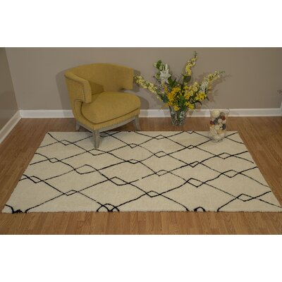 Pisano Black/Ivory Area Rug Rug Size: Rectangle 53 x 72