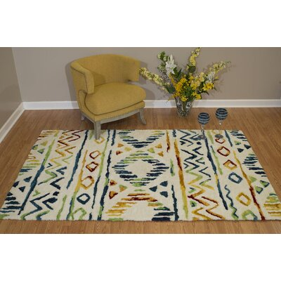 Pisano Lime Green/Teal Blue Area Rug Rug Size: Rectangle 53 x 72