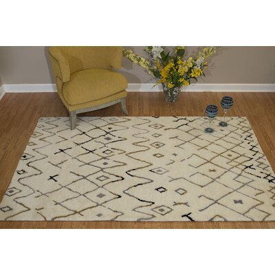 Pisano Natural Beige/Navy Blue Area Rug Rug Size: Rectangle 53 x 72