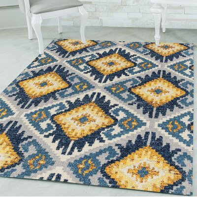 Dietz Midnight Blue/Yellow Area Rug Rug Size: Rectangle 98 x 132