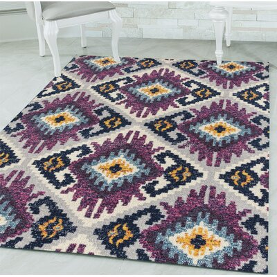 Dietz Purple/Yellow Area Rug Rug Size: Rectangle 98 x 132